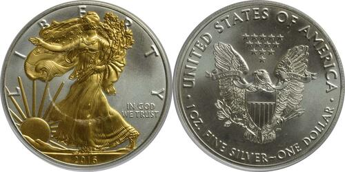 Lieferumfang:USA : 1 Dollar Silber Eagle - teilvergoldet  2016 Stgl.