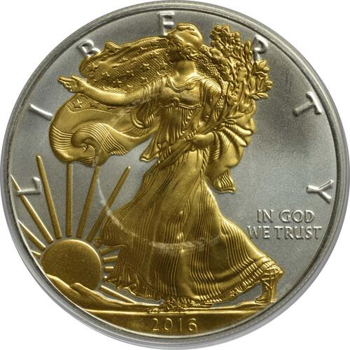 Vorderseite:USA : 1 Dollar Silber Eagle - teilvergoldet  2016 Stgl.