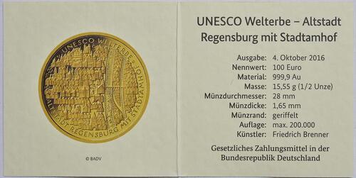 Zertifikat :Deutschland : 100 Euro Altstadt Regensburg mit Stadtamhof  2016 Stgl.