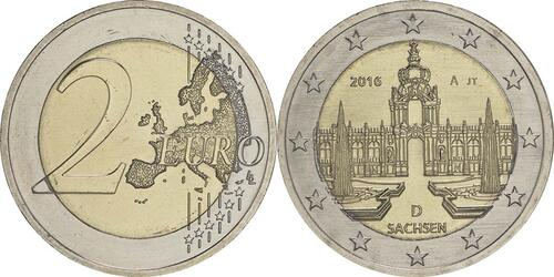 Lieferumfang :Deutschland : 2 Euro Sachsen - Dresdner Zwinger  2016 bfr