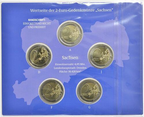 Rückseite :Deutschland : 2 Euro Sachsen - Dresdner Zwinger Komplettsatz 5x2 Euro  2016 Stgl.