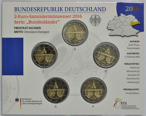 Lieferumfang :Deutschland : 2 Euro Sachsen - Dresdner Zwinger Komplettsatz 5x2 Euro  2016 Stgl.