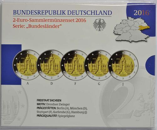 Lieferumfang :Deutschland : 2 Euro Sachsen - Dresdner Zwinger Komplettsatz 5x2 Euro  2016 PP