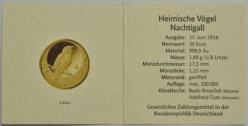 Zertifikat :Deutschland : 20 Euro Nachtigall  2016 Stgl.
