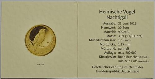 Zertifikat :Deutschland : 20 Euro Nachtigall Komplettsatz ADFGJ 5 Müzen  2016 Stgl.