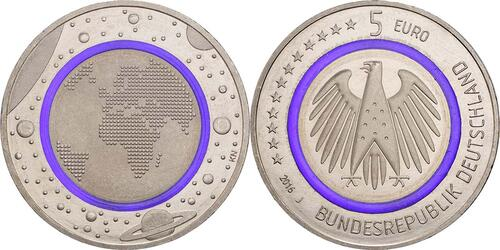 Lieferumfang:Deutschland : 5 Euro Planet Erde Buchstabe unserer Wahl  2016 bfr