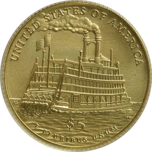 Rückseite:USA : 5 Dollar Mark Twain  2016 Stgl.