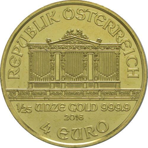 Rückseite:Österreich : 4 Euro Philharmoniker  2016 Stgl.
