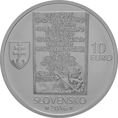 Rückseite:Slowakei : 10 Euro 150. Geburtstag Ladislav Nadasi-Jege (Schriftsteller)  2016 Stgl.