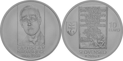 Lieferumfang:Slowakei : 10 Euro 150. Geburtstag Ladislav Nadasi-Jege (Schriftsteller)  2016 Stgl.