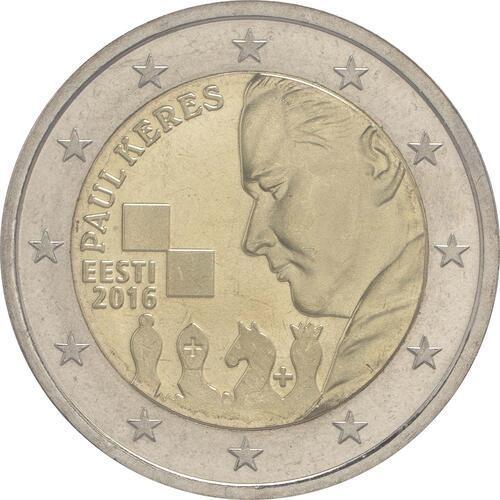 Rückseite :Estland : 2 Euro 100. Geburtstag des Schachgroßmeisters Paul Keres  2016 bfr