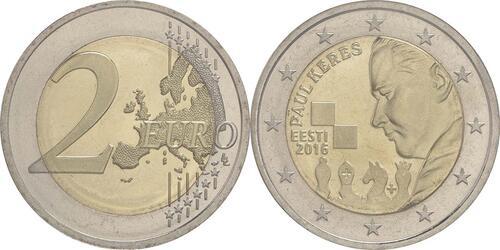 Lieferumfang :Estland : 2 Euro 100. Geburtstag des Schachgroßmeisters Paul Keres  2016 bfr