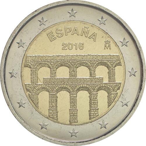 Rückseite :Spanien : 2 Euro Altstadt und Aquädukt von Segovia  2016 bfr