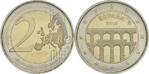 Lieferumfang :Spanien : 2 Euro Altstadt und Aquädukt von Segovia  2016 bfr