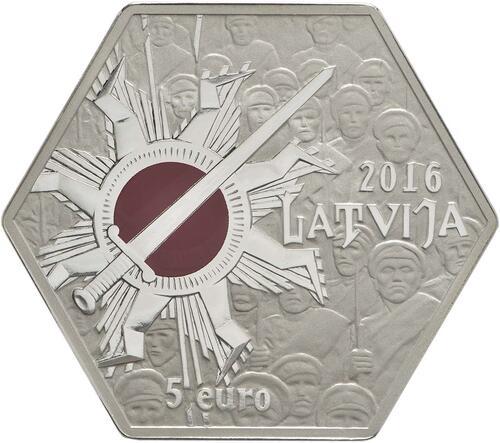 Vorderseite:Lettland : 5 Euro 100 Jahre Schlacht an der Aa  2016 PP