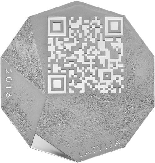 Vorderseite:Lettland : 5 Euro Unternehmertum / Barcode-Münze  2016 PP