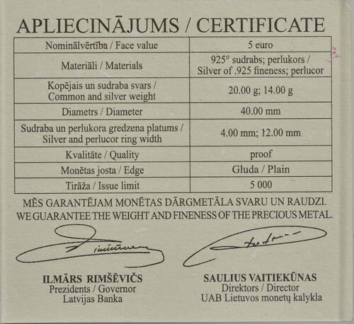 Zertifikat:Lettland : 5 Euro Erde  2016 PP