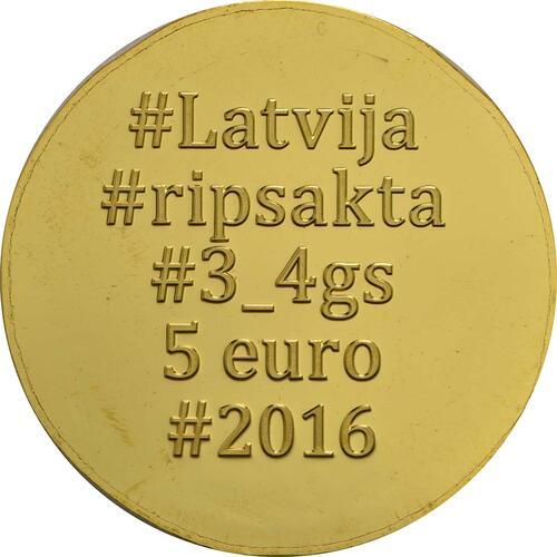Rückseite:Lettland : 5 Euro Goldene Brosche I  2016 PP