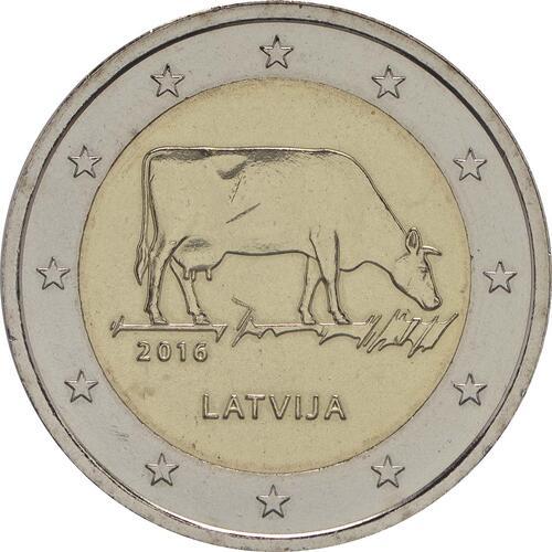 Rückseite :Lettland : 2 Euro Kuh  2016 bfr