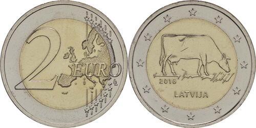 Lieferumfang:Lettland : 2 Euro Kuh  2016 bfr