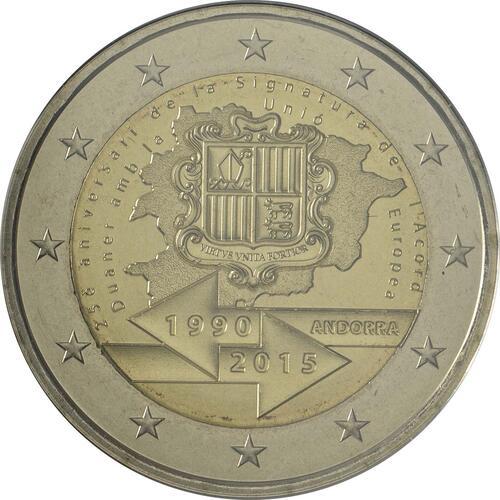 Rückseite:Andorra : 2 Euro 25 Jahre Zollunion mit der EU  2015 Stgl.