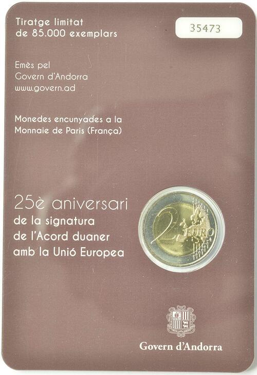 Zertifikat:Andorra : 2 Euro 25 Jahre Zollunion mit der EU  2015 Stgl.