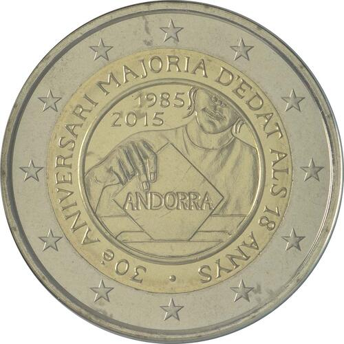 Rückseite:Andorra : 2 Euro 30 Jahre Volljährigkeit mit 18  2015 bfr