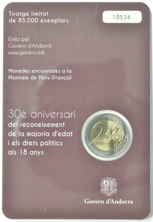 Zertifikat:Andorra : 2 Euro 30 Jahre Volljährigkeit mit 18  2015 bfr