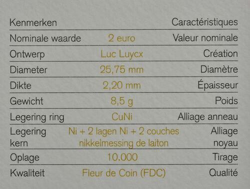 Zertifikat :Belgien : 2 Euro Child Focus  2016 Stgl.