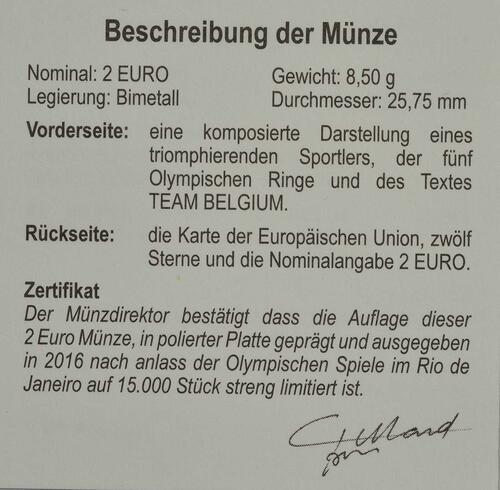 Zertifikat :Belgien : 2 Euro Olympische Sommerspiele 2016 in Rio de Janeiro  2016 PP