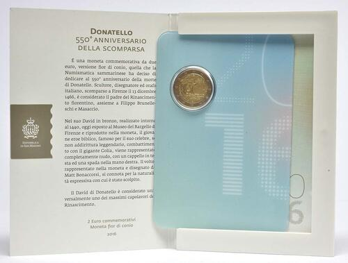 Lieferumfang :San Marino : 2 Euro 550. Todestag von Donatello  2016 bfr