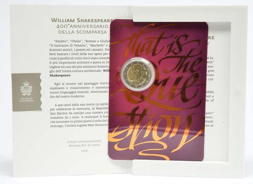Lieferumfang :San Marino : 2 Euro 400. Todestag von William Shakespeare  2016 Stgl.