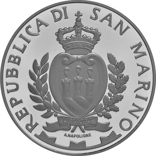 Rückseite:San Marino : 5 Euro 500. Todestag von Giovanni Bellini  2016 PP