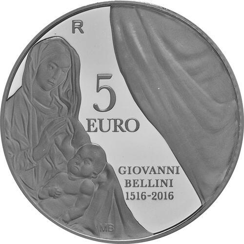 Vorderseite:San Marino : 5 Euro 500. Todestag von Giovanni Bellini  2016 PP