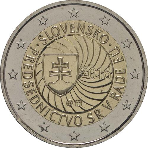 Rückseite :Slowakei : 2 Euro Erste EU-Präsidentschaft der Slowakei  2016 bfr