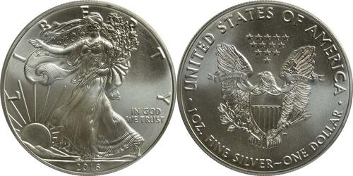 Lieferumfang :USA : 1 Dollar Silber Eagle  2016 Stgl.