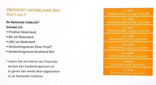 Zertifikat:Niederlande : 3,88 Euro KMS Niederlande  2016 PP