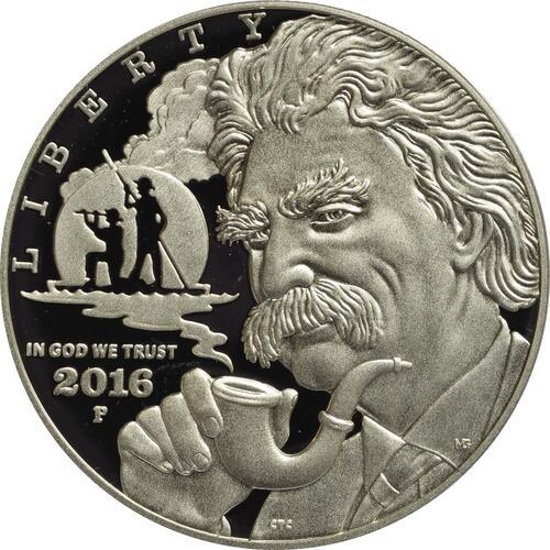Vorderseite :USA : 1 Dollar Mark Twain  2016 PP