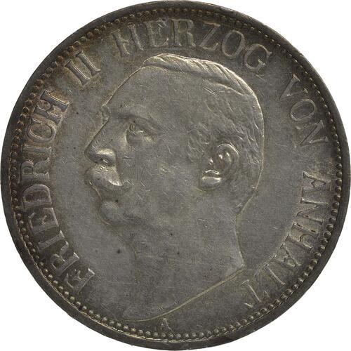 Vorderseite:Deutschland : 3 Mark Friedrich II.  1909 ss/vz.