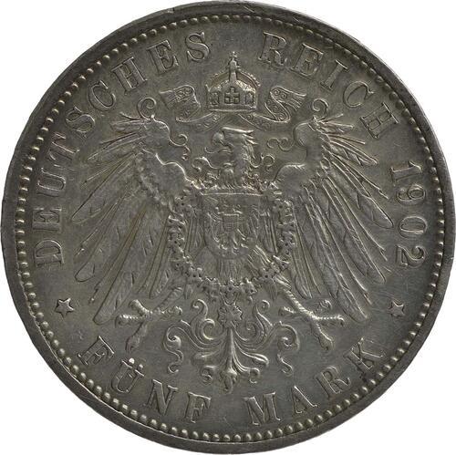 Rückseite :Deutschland : 5 Mark Friedrich I. winz. Rs., geputzt, -seltenes Jahr- 1902 s/ss.