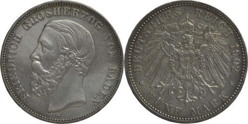 Lieferumfang :Deutschland : 5 Mark Friedrich I. winz. Rs., geputzt, -seltenes Jahr- 1902 s/ss.