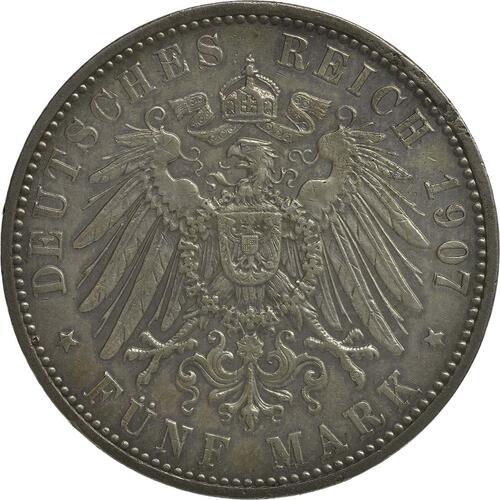 Rückseite :Deutschland : 5 Mark Friedrich I.  1907 ss/vz.