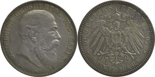 Lieferumfang :Deutschland : 5 Mark Friedrich I.  1907 ss/vz.