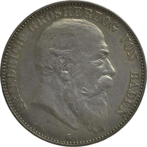 Vorderseite :Deutschland : 5 Mark Friedrich I.  1907 ss/vz.