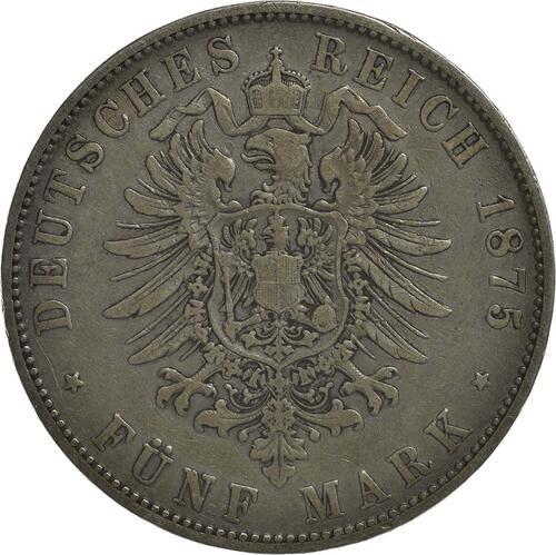 Rückseite:Deutschland : 5 Mark Ludwig II.  1875 s/ss.