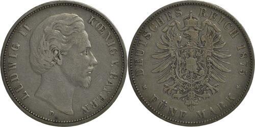 Lieferumfang:Deutschland : 5 Mark Ludwig II.  1875 s/ss.