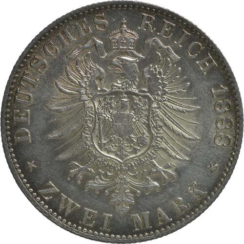 Rückseite:Deutschland : 2 Mark  winz. Kratzer 1888 f.Stgl.