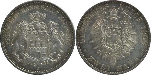 Lieferumfang :Deutschland : 2 Mark  winz. Kratzer 1888 f.Stgl.