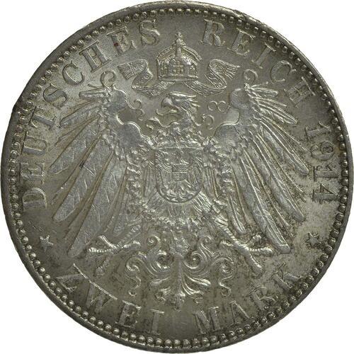 Rückseite:Deutschland : 2 Mark   1914 vz/Stgl.