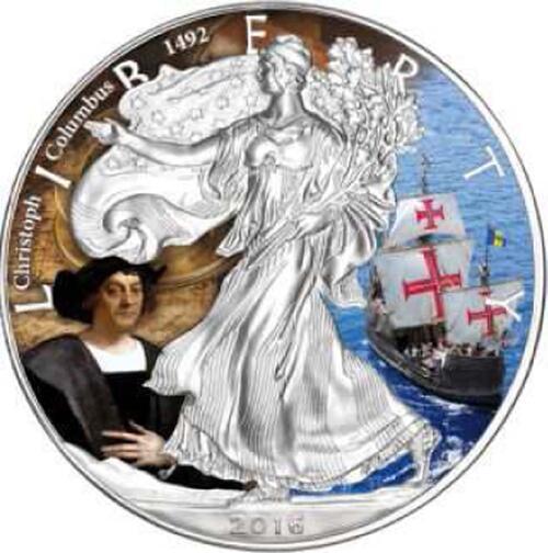 "Lieferumfang:USA : 1 Dollar Silber Eagle ""Christoph Columbus""  2016 Stgl."